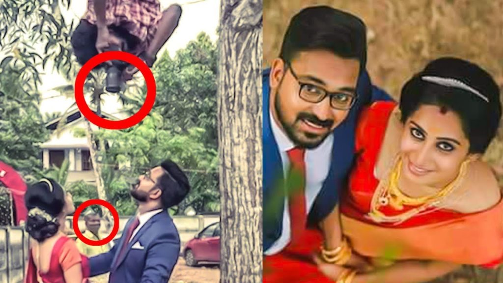 Wedding Photographer Hanging Upside for a Perfect Click