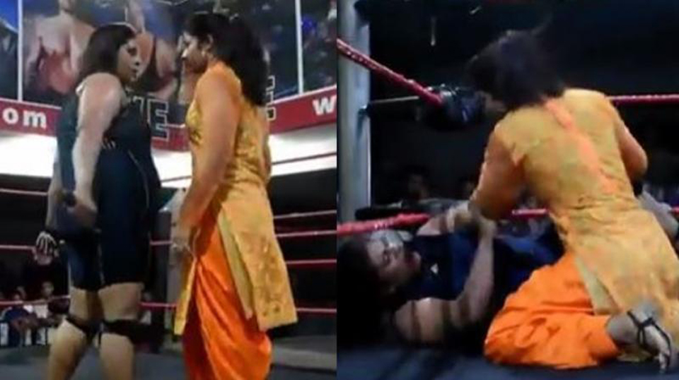 Woman wearing the salwar suit, in the ring, viral video